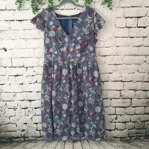 NWT ModCloth Floral Midi Dress 1X